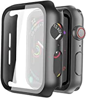 Misxi Black Hard Case Compatible with Apple Watch Series 6 SE Series 5 Series 4 40mm, Hard PC Case Slim Tempered Glass...