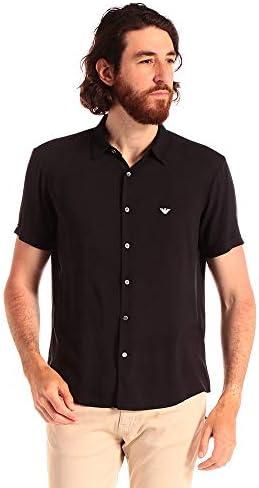(エンポリオ アルマーニ) EMPORIO ARMANI レーヨン ワンポイントロゴ 半袖 シャツ BLACK [EA3H1C911NXKZ] [並行輸入品]
