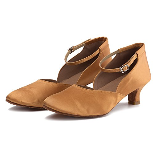 HROYL Women TY-C15 Satin Latin Dance Shoes Brown1 7XrXAvgT4