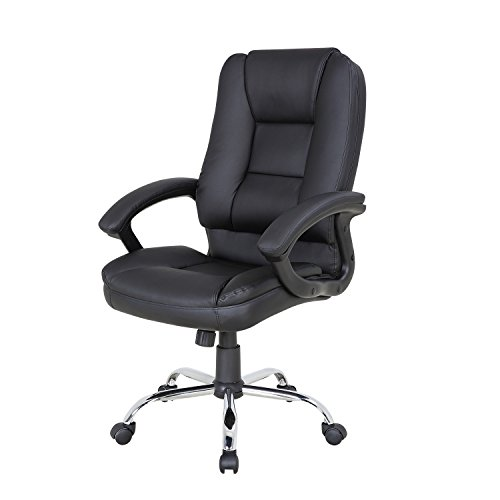 LCH PU Leather Office Chair Swivel Executive Chair with Tilt Function and Thick Seat, Ergonomic Computer Chair Headrest and Lumbar Support (Black)