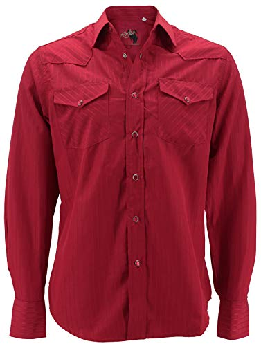 (Rodeo Clothing Men's Premium Western Cowboy Pearl Snap Long Sleeve Plaid Shirt (PS504 Red, L))