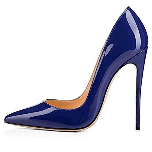 Chris-t Donna Scarpe A Punta Tacco Alto Tacco A Spillo Scarpe Da Festa Blue-patent