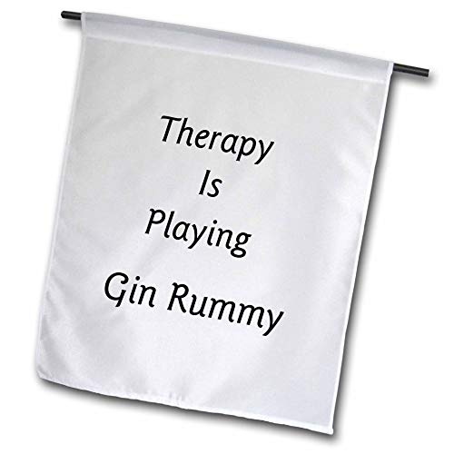 3dRose Lens Art by Florene - Therapy is - Image of Therapy is Playing Gin Rummy in Bold Typography - 18 x 27 inch Garden Flag ()