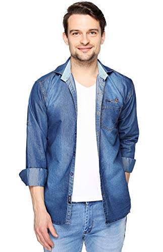 Lafantar Men\'s Slim Fit Denim Shirt