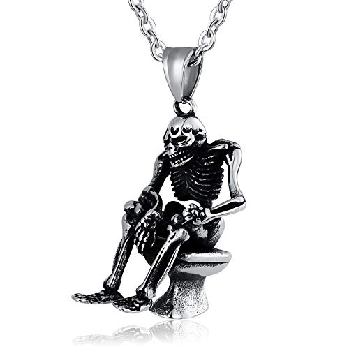 (Daesar Stainless Steel Necklace for Men Necklace Pendant Skull Sitting Posture Skeleton Silver Necklace Chain)