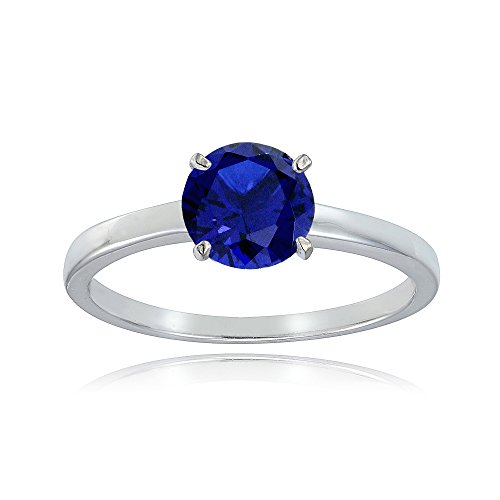 Sterling Silver Created Blue Sapphire 8mm Round Solitaire Bridal Engagement Ring, Size 9