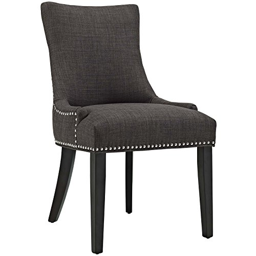 Modway Marquis Modern Elegant Upholstered Fabric Parsons Dining Side Chair With Nailhead Trim And Wood Legs In Brown -
