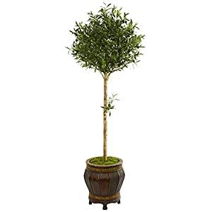 Nearly Natural 9231 5.5-Ft. Olive Topiary Artificial Decorative Planter Silk Trees Green 106