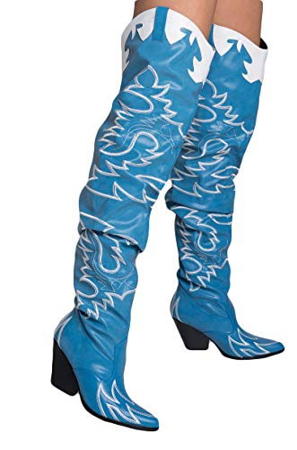CAPE ROBBIN Sexy Thigh High Rihanna Kylie Country Western Heeled Cowboy Boots-DENIM_11]()