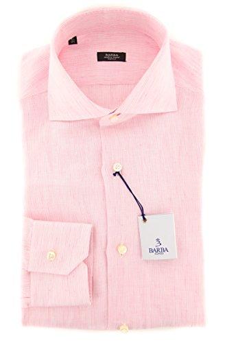 Barba Napoli Pink Stripes Button Down Cutaway Collar Linen Slim Fit Dress Shirt, Size Medium 15.5 Barba Napoli Linen Shirt