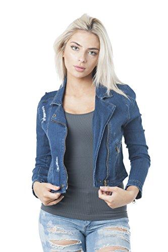 Khanomak Women's Denim Asymmetrical Moto Zip up Jacket (Medium, Dark Blue) ()