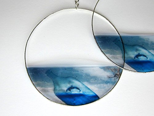 Blue Orca Whale Earrings, Hoop or Dangle, Transparent Resin Photo, Message in a Bottle, West Coast (Transparent Whale)