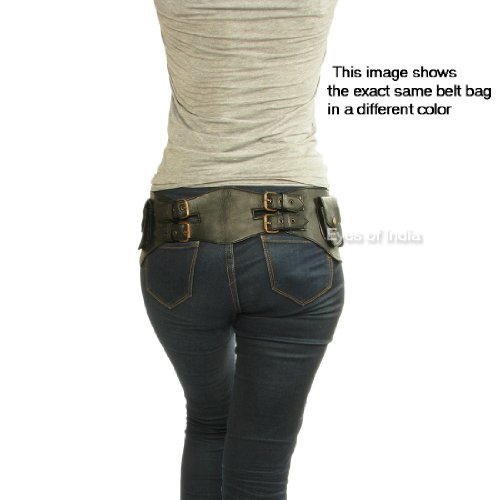7bc4829e8142 EYES OF INDIA - BROWN LEATHER BELT WAIST HIP BUM BAG POUCH Fanny ...
