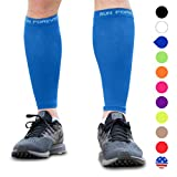 Calf Compression Sleeves - Leg Compression Socks for Runners, Shin Splint, Varicose Vein & Calf Pain Relief - Calf Guard Great for Running, Cycling, Maternity, Travel, Nurses (Blue, Medium)