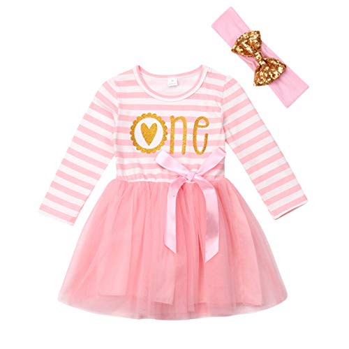 - Baby Girls' 1st Birthday Tutu Dress Sleeveless Floral Romper Top Lace Skirt Clothes Easter Outfit 2Pcs (Pink#2, 12-18 Months)