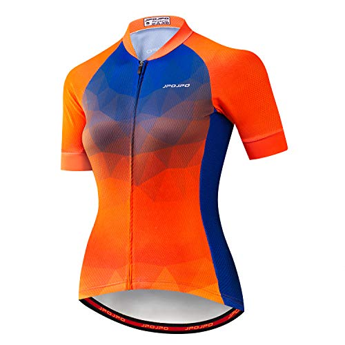 Weimostar Cycling Jersey Women Short Sleeve Pro Team Bicycle Clothing Summer Youth MTB Bike Shirt Top Orange Blue Size -