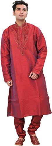 Exotic India Rococco-Red Self Weave Wedding Kurta Pajam Size 40 by Exotic India