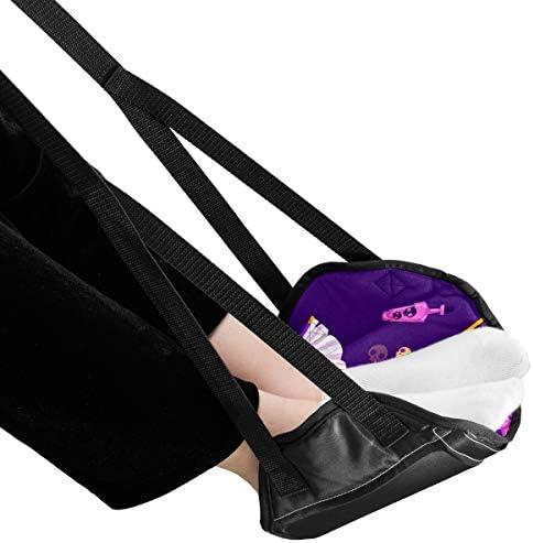 フットレスト 足置き 魔女 パープル 魔法 デスク 飛行機 車 オフィス 出張用 簡易フットレスト 新幹線 夜行バス 折りたたみ式 収納パック付き 調節可能 快適 リラックス 休み 休憩時間 疲れ 携帯便利