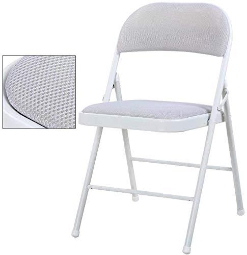 Transpirable tapizado de tela de acoplamiento de asiento de la silla plegable de oficina, de tubos de acero Silla de comedor ordenador taburete con Volver (H45cm (18 pulgadas)) 0605 (Color : Gray)