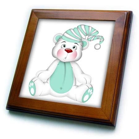 3dRose Anne Marie Baugh - Illustrations - Cute Aqua and White Bear in A Sleeping Cap Illustration - 8x8 Framed Tile (ft_317986_1)