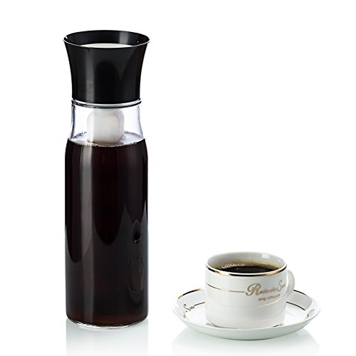 Perlli Graceful Cold Brew Iced Coffee Maker and Iced Tea Maker - Glass Pitcher Plus Interchangeable Ice Tube Keeps Drink Cold for Hours