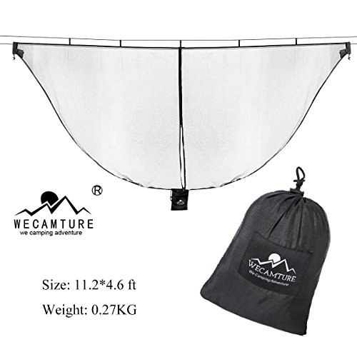 Hammock Bug Mosquito Net XL-Wecamture 11x4.6FT No-See-Ums Polyester Fabric for 360 Degree Protection Dual Sided Diagonal Zipper For Easy Access Fits All Hammocks