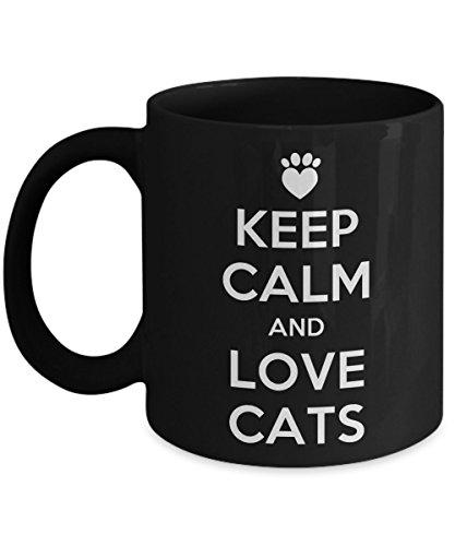 Coffee Lover Mug, Cat Lover Coffee Mug - Keep Calm And Love Cats - Ceramic Coffee Mug 11oz Cat Gifts For Cat Lovers, Sister, Daughter, Mom, Wife, Gir