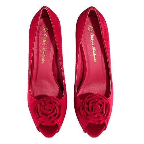 Rouges Machado Satin À Chaussures Rot Talons Andres Pour Femmes 37 IwvxPnq