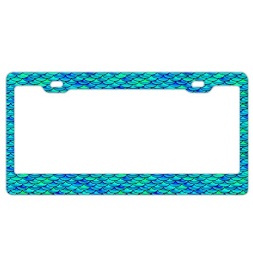 Customized Frames Girly License Plate Frame for Women/Girls, Aluminum Metal Car Licenses Plate Cover for Both Front and Back License Tag - Aqua Blue Scales