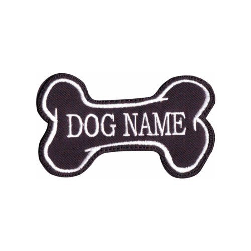Custom Dog Name Bone (Black) Embroidered Sew On Patch ()