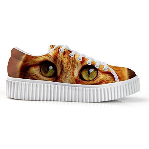 Per Te Design Elegante Donna Basso Top Platform Fashion Sneaker Allacciata Flat Size Funny 3