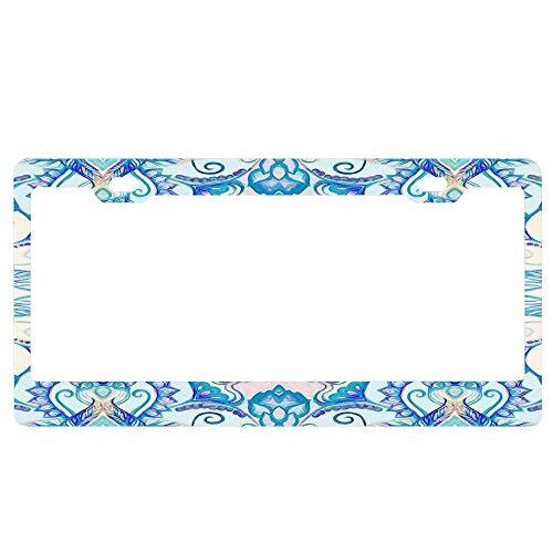 (ASUIframeNJK Teal Blue Pearl & Pink Floral Pattern License Plate Frame Glitter Waterproof License Plate Covers Cute Car Tag Frame)