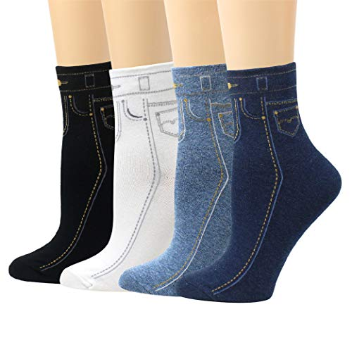LIVEBEAR 4/5/8 Pairs Womens Cute Patterns, Novelty, Casual Cotton Crew Socks Made In Korea ()