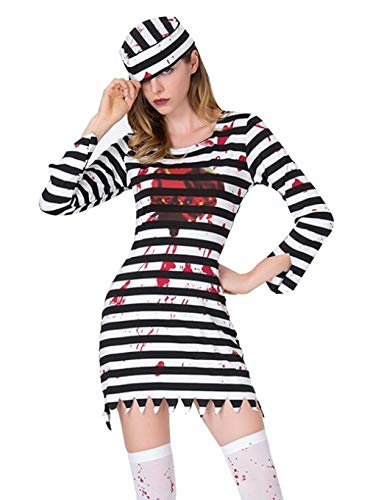 Seipe Halloween Adult Woman Zombie Escape Costume Dressed Up Vampire Suit -