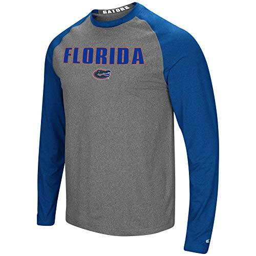 Colosseum Men's NCAA-Buzzer Beater- Long Sleeve Raglan T-Shirt-Florida Gators-Heathered Royal/Heathered Charcoal-XXL