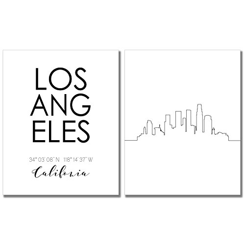 Print California Art (Los Angeles California Skyline Wall Art Prints Set of Two 8x10 Photos - LA Coordinates Typography Minimalist Posters)