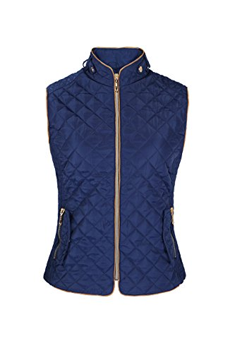 Lee Hanton Women's Quilted Padded Fur Vest with Leopard Print Lining (Medium, Royal)