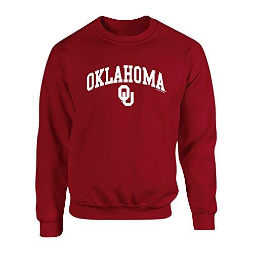 Elite Fan Shop Oklahoma Sooners Crewneck Sweatshirt Arch Crimson - L (Oklahoma Crew Sweatshirt)