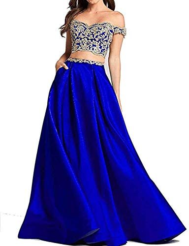(TTYbridal 2 Piece Prom Homecoming Dress Appliqued Off Shoulder Party Gowns P126 Royal Blue 4)