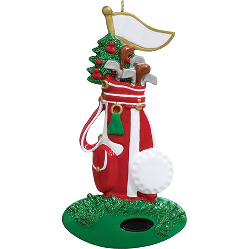 Personalized Golfer Christmas Tree Ornament 2019 - Glitter Red Golf Bag Clubs Flag Ball Green Grass Professional Player Member Hobby Caddy Amateur Hit Lover Cylindrical Year - Free Customization ()