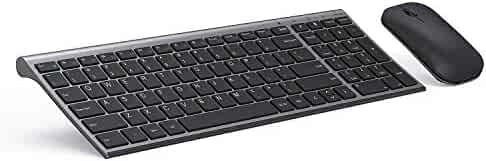 Wireless Keyboard and Mouse Set, Seenda Ultra Thin Low Profile Rechargeable Keyboard and Mouse Combo with Number Pad for Windows-Space Gray