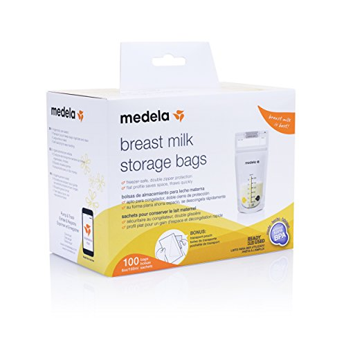 Medela Breast Milk Storage Bags, 100 Count, Ready to Use Breastmilk Bags for Breastfeeding, Self Standing Bag, Space Saving Flat Profile, Hygienically Pre-Sealed,  6 Ounce
