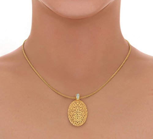 Or jaune 18K 0,06CT TW Round-cut-diamond (IJ   SI) Pendentif