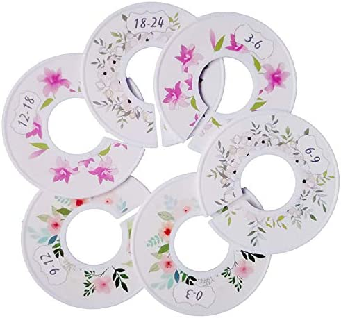 Baby Wardrobe Dividers,6 Pack Plastic Baby Closet Size Dividers Round Nursery Closet Dividers Clothing Size Age Dividers for Toddlers Girls Boys from Newborn Infant to 24 Months