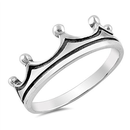 King Sterling Silver New - Crown Tiara King Fashion Ring New .925 Sterling Silver Band Size 10
