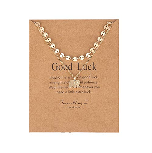 - ForeveRing Z Message Card Good Luck Layer Choker Necklace Lucky Elephant Pendant Necklace Beads Disc Chain Woman Jewellery