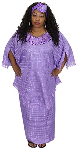 African Planet Women's Million Stone Lace Floral Skirt Set (Lavender) by African Planet