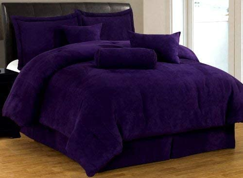 Amazon Com Grand Linen 7 Pc Luxury Super Set Solid Purple Suede