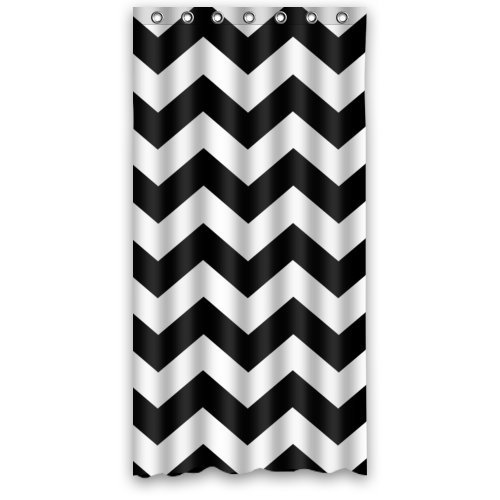UPC 532277757320, 36(width) X 72(height) Inches Black and White Chevron Zigzag Pattern Waterproof Bathroom Shower Curtains Shower Rings Included - Polyester Fabric