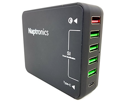 (Naptronics 6Port USB Charging Station w/Quatcomm 3.0 Quick Charge Type-C Technology 40W for iPhone 6, 7, 7 Plus, iPhone 8, X, Xmax Samsung Note 8, Galaxy S8, S8 Plus, Note9 Smartphones iPad, Tablets)